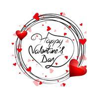 Cartão bonito dia dos namorados fundo com design de corações vetor