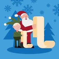 papai noel e elfo lendo presentes de personagens natal vetor