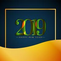 Feliz ano novo 2019 elegante fundo decorativo vetor