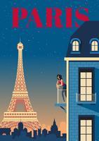 Paris à noite vetor