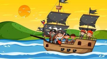 cena do oceano no pôr do sol com crianças piratas no navio vetor
