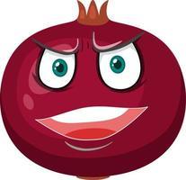 personagem de desenho animado de romã com expressão de raiva no fundo branco vetor