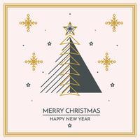 Feliz Natal Linear E Feliz Ano Novo Cartão vetor