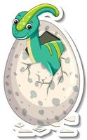 um modelo de adesivo com um bebê dinossauro saindo de um ovo vetor
