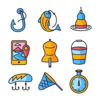 coleção de ícones de pesca vetor