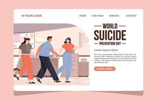 página de destino do dia mundial da prevenção do suicídio vetor