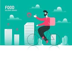 entrega de pacote de comida por ilustração do conceito de bicicleta vetor