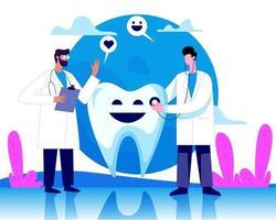 dentista médico tratamento dentes grandes ilustração conceito vetor