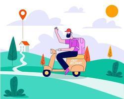 entregador com vetor de conceito de ilustração de bicicleta de entrega