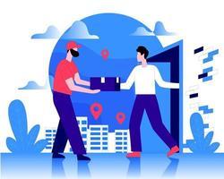 entrega em domicílio ilustração serviço de correio entrega ilustração entrega entrega ao cliente conceito vetor