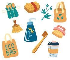 conjunto de itens reutilizáveis e embalagens. objetos sobre o tema ecologia, zero desperdício de itens ou produtos duráveis e reutilizáveis. sacos ecológicos, talheres de madeira, escovas, copos reutilizáveis, artigos de higiene. vetor