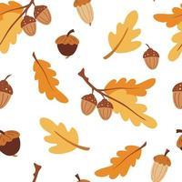 padrão sem emenda com bolotas. fundo de outono. folhas de carvalho estilizadas e bolotas. perfeito para papel de parede, papel de presente, preenchimento de padrão, fundo de página da web, cartões de outono. textura do vetor dos desenhos animados.
