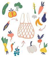 saco de malha ou rede com legumes e frutas. construtor. monte você mesmo. frutas frescas, compra de vegetais. mercado dos fazendeiros. comprar produtos orgânicos. conceito ecológico. ilustração vetorial plana. vetor