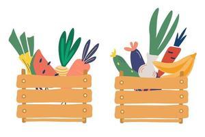 caixas de madeira com frutas e legumes. alimentos frescos e naturais. dieta e modelo de alimentos orgânicos. mercado dos fazendeiros. o conceito do festival da colheita. ilustração em vetor colorido plana dos desenhos animados.