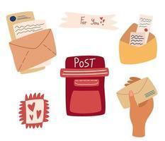 conjunto de itens de correio. serviço postal. caixa de correio, envelopes postais e selos de cartas, mão com envelope. elementos de comunicação. ilustração vetorial plana. vetor
