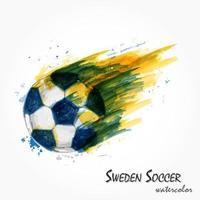 pintura em aquarela realista da poderosa seleção nacional de futebol da Suécia ou tiro de futebol. conceito artístico e esportivo. vetor para a copa do torneio do campeonato mundial internacional 2018. design plano.