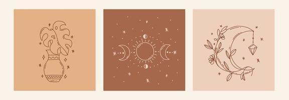 pôster de arte de linha mágica com lua, folha, vasos, fases da lua vetor