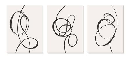 modelos contemporâneos com formas abstratas estilo boho moderno de meados do século. vetor