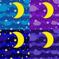 um conjunto de quatro fotos. a lua contra o fundo de um céu escuro de diferentes tons com nuvens e estrelas vetor