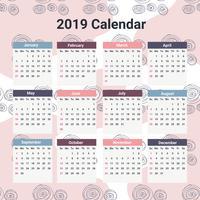 Calendário imprimível de 2019 vetor