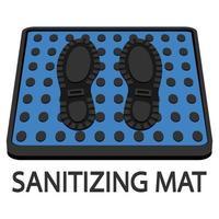 tapete desinfetante. tapete de desinfecção. tapete anti-bacteriano colorido. desinfecção de tapetes para calçados. superfície estéril. vetor