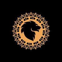 mandala com vetor de design de conceito de rosto de leão