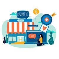 Loja online, compras online vetor