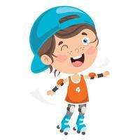 crianças andando de patins vetor