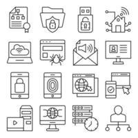 pacote de ícones lineares de hierarquia vetor