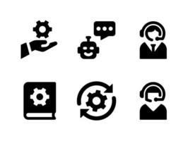 conjunto simples de ícones sólidos de vetor relacionados com ajuda e suporte. contém ícones como bot de bate-papo, atendimento ao cliente, livro manual e muito mais.
