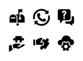 conjunto simples de ícones sólidos de vetor relacionados com ajuda e suporte. contém ícones como rediscagem, suporte, nuvem e muito mais.