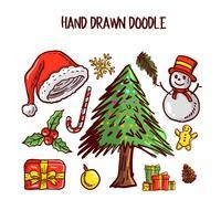 Conjunto de arte de Doodle de Natal. Ilustração vetorial vetor