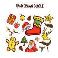 Conjunto de arte de Doodle de Natal. Ilustração vetorial