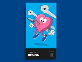 coração dos desenhos animados perfurado por uma bala. ilustração de arte colorida. vetor digital brilhante criativo para cartão de capa, banner, cartaz.