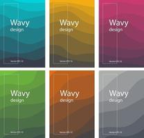 conjunto de brochura de design ondulado vetor