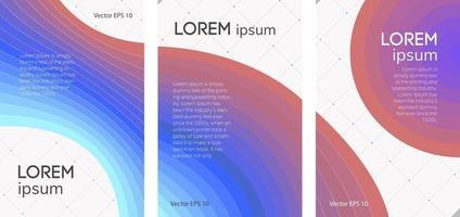 conjunto de brochuras abstratas, linhas de cores vetor