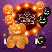 feliz dia das bruxas, modelo quadrado roxo com balões Helloween, guirlanda, sinal de círculo com parabéns e ursinho de pelúcia com cabeça de abóbora vetor
