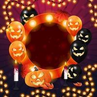 feliz dia das bruxas, modelo quadrado roxo com balões Helloween, jack pumpkin e guirlanda. modelo estiloso para sua criatividade vetor