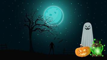 fundo de halloween para sua criatividade com paisagem noturna, fantasmas, jack de abóbora e lanterna antiga com fantasmas vetor