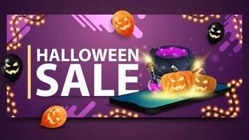 liquidação de halloween, banner roxo moderno para site com balões, guirlanda e smartphone de onde é projetado o caldeirão da bruxa e o jack de abóbora vetor