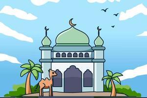 mesquita com tamareira e ilustração de camelo vetor