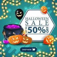 venda de halloween, banner de desconto quadrado azul com festão, balões de halloween, caldeirão de bruxa e jack de abóbora. vetor
