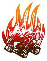 fogueira de acampamento de chamas quentes vetor