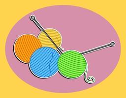 agulhas de tricô e bolas de lã vetor