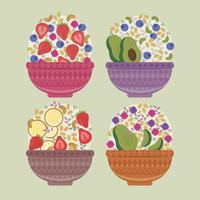 Taças de Açaí colorido de vetor