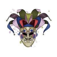 máscara veneziana de carnaval de um toque de aquarela, desenho colorido, realista. ilustração vetorial de tintas vetor