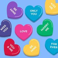 Candy Conversation Hearts Conjunto de elementos do vetor sem emenda