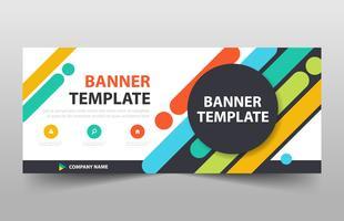 Modelo de banner colorido círculo, banner de publicidade horizontal vetor