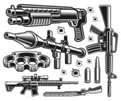 um conjunto de ilustrações vetoriais em preto e branco de armas vetor