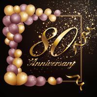 Celebração de aniversário de 80 anos fundo banner design com lu vetor